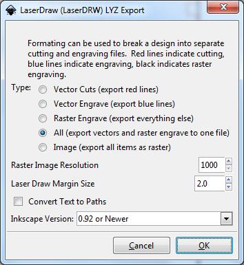 Laser Draw (LaserDRW) - Inkscape Extension